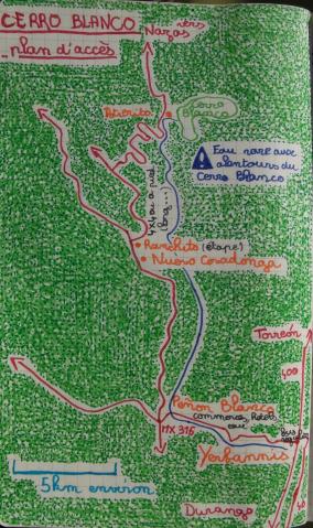 Plan d'accès au Cerro Blanco
